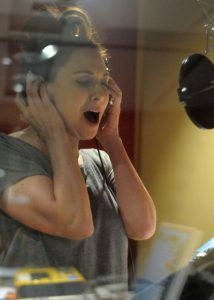 Lesli Margherita in the studio for the Like You Like It RADcording (photo by Rebecca Woodman Taylor).