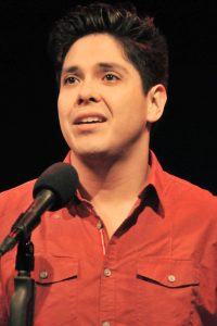 "George Salazar performing at the ""Bucquisto Bar Mitzvah"" concert (photo by Rebecca Woodman Taylor)."
