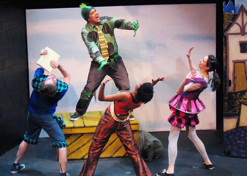 Jeff Barba, George Salazar, Monique Beasley and Rebecca Stavis in the Vital Theatre production of The Frog & The Witch.