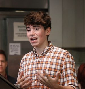 Noah Galvin in the 2014 reading at the Peter Jay Sharp Theatre at Playwrights Horizons (photo by Michael Bonasio).