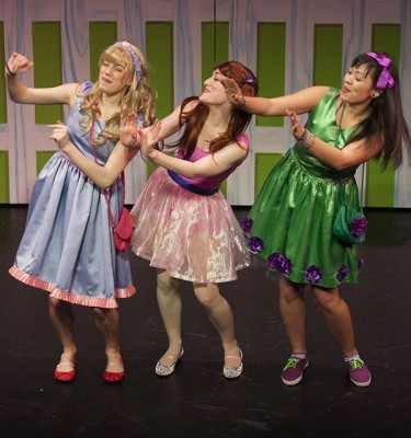 Pictured: Lora Nicolas, Laura Weiner, Madison Turner in the Off-Broadway Alliance Award-winning production of StinkyKids the Musical at Vital Theatre (photo by Steven Rosen).