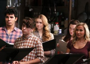Anthony Lee Medina, Noah Galvin, Chandler Reeves, Emily Rogers and Alexa Green in Small Town Story at the November, 2014 reading at Playwrights Horizons (photo by Michael Bonasio).