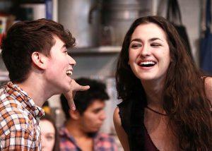 Noah Galvin and Hannah DeFlumeri in Small Town Story at the November, 2014 reading at Playwrights Horizons (photo by Michael Bonasio).